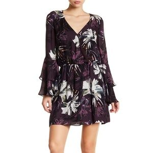 Parker Pat Floral Silk Ruffle Long Sleeve Dress M